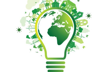 Green city and Eco Earth with light bulb eco concept ,vector illustration