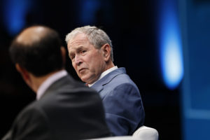 Former U.S. President George W. Bush speaks during the Milken Institute Global Conference in Beverly Hills, California, U.S., on Wednesday, May 3, 2017. The conference is a unique setting that convenes individuals with the capital, power and influence to move the world forward meet face-to-face with those whose expertise and creativity are reinventing industry, philanthropy and media. Photographer: Patrick T. Fallon/Bloomberg via Getty Images